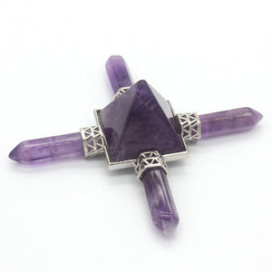 Natural Amethysts, Pink Quartz, Obsidian, Quartz Crystal Energy Transmitter Focus