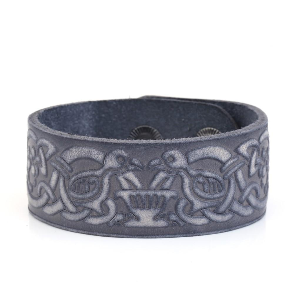 Vintage Double Crow Sigil Handmade Leather Cuff Bracelet
