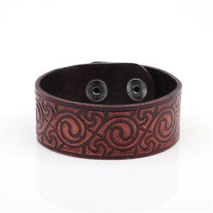 Vintage Leather Slavic Knot Ethnic Studded Wristband Bracelet