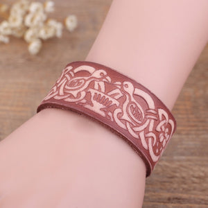Vintage Leather Double Crow Knot Wristband Bracelet