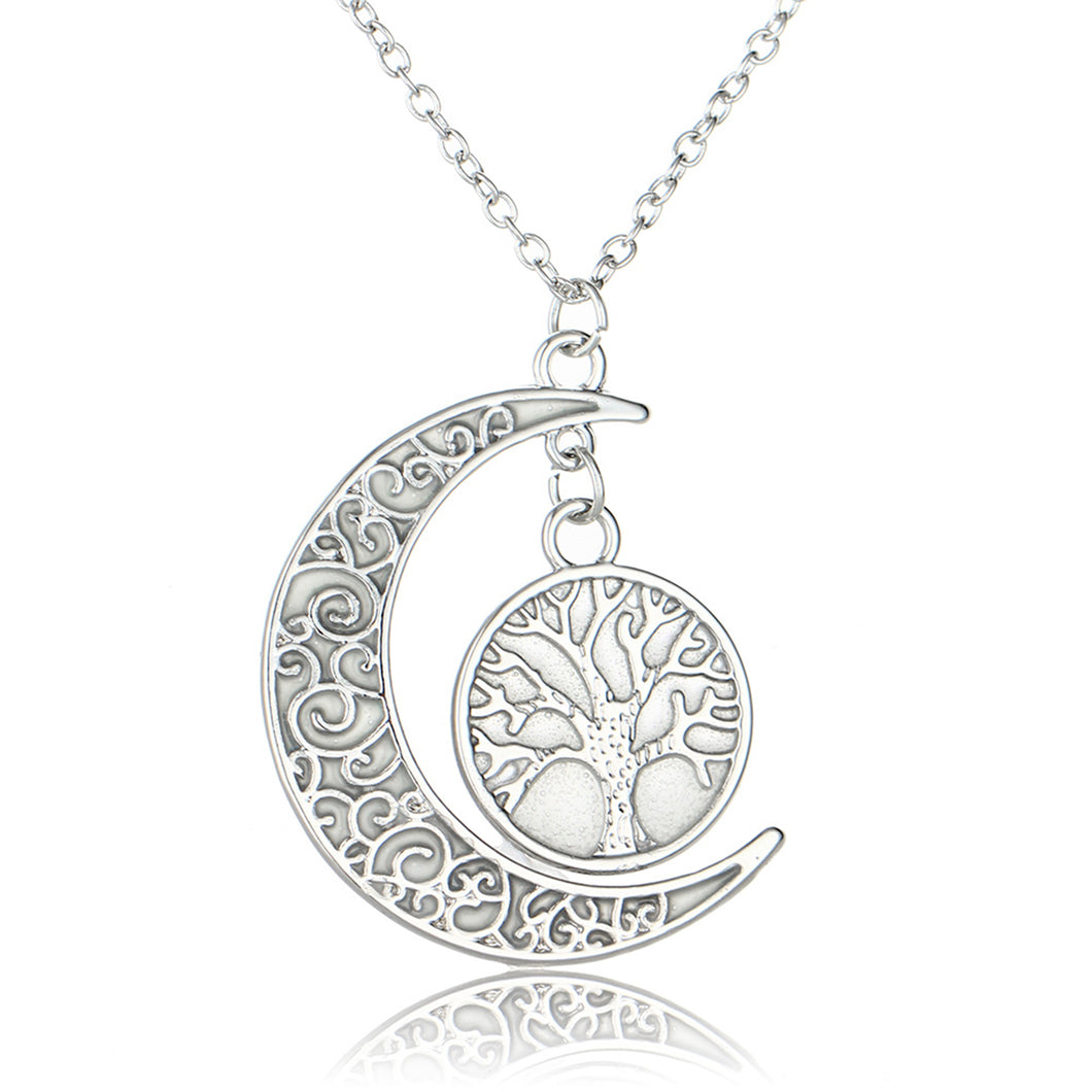 Silver Color Glowing Tree of Life Pattern Crescent