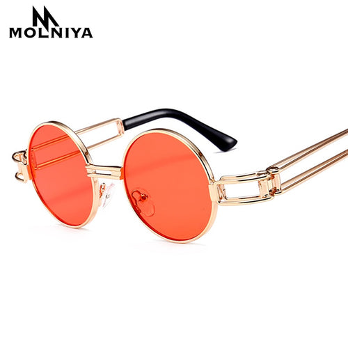 Gold Frame Small Steampunk Round Sunglasses