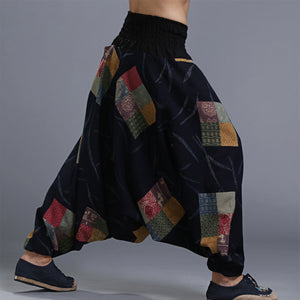 Men's Cotton Big Crotch Harem Wide leg Ninja Pants