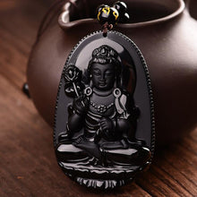 Obsidian Carved Bodhisattva Buddha Amulet Pendant Necklaces (8 different Buddhas)