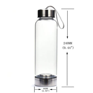 Glass Natural Healing Quartz Crystal Infuser Water Bottle