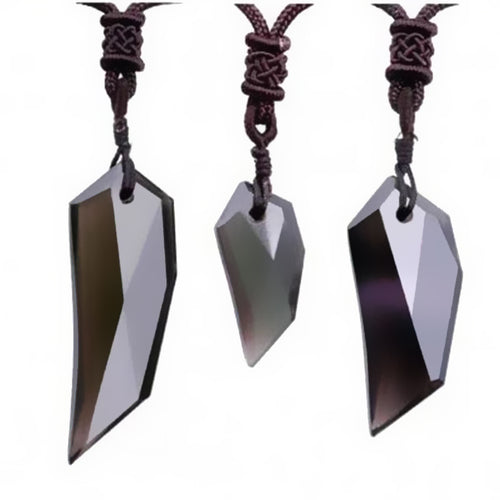 Natural Ice Obsidian Wolf Tooth Pendant Necklace