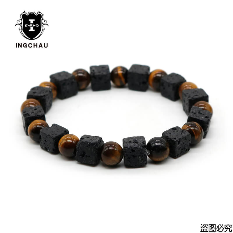 Natural Square Yoga Mala 7 Chakra Lava Rock Bracelet