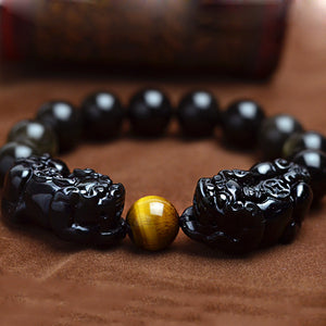 Natural Black Obsidian Bracelet With Tigers Eye
