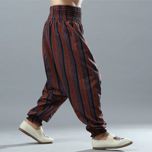 Men's Cotton Stripe Big Crotch Hippy Boho Harem Pants