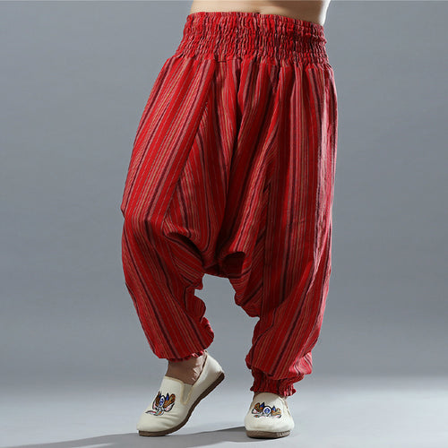 Red Striped Cotton Linen Men's Harem Wide Leg Aladdin Trousers