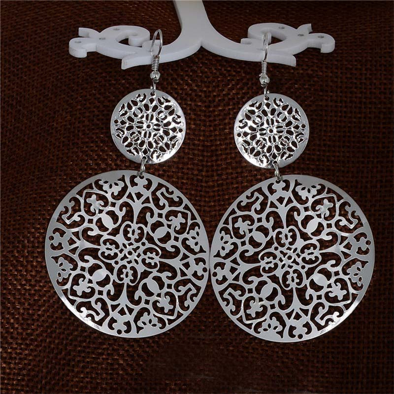 Women's Vintage Round Hollow Drop Earrings
