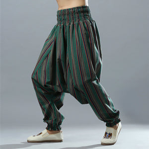 Striped Baggy Cotton Aladdin Trousers