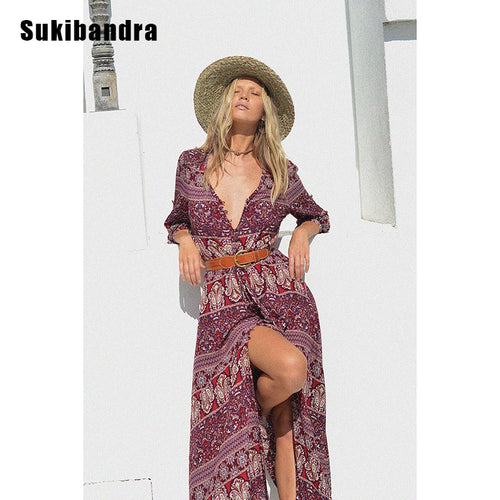 Floral Bohemian Maxi Long Beach Dress