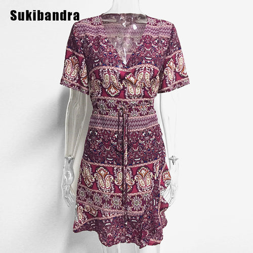 Short Sleeve Floral Print Wrap Dress