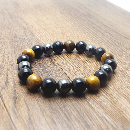 Tiger Eye, Hematite, Black Obsidian 10mm Stone Bracelet
