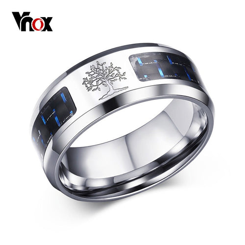 Engraved Tree Of Life 8mm Stainless Steel Men's Ring