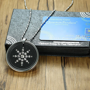 "Scalar Quantum Energy Ion Pendant With Rhinestones Stainless Steel 25"" Chain w/ Box & Card"