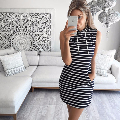 Hooded Striped Summer Dress