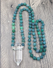 Natural Clear Quartz Double Point Pendant Green Dragon Vein Agate 8mm Stone Mala Beads