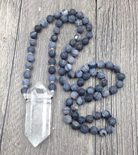 Natural Clear Quartz Double Point Pendant Black Dragon Vein Agate 8mm Stone Mala Beads 30 inch long