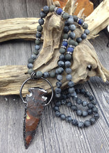 Warrior's Arrow Jasper Pendant w/ Labradorite, Pyrite, & Lapis Mala Beads