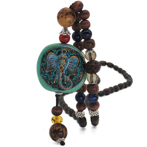 Wooden beaded Stone Pendants