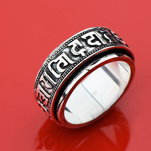 Tibetan Silver Rotating Blessing Ring,