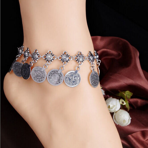 Tribal Coin Tassel Gypsy Anklet