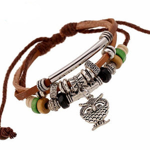 Multilayer Bead Hand-woven Owl Bracelet