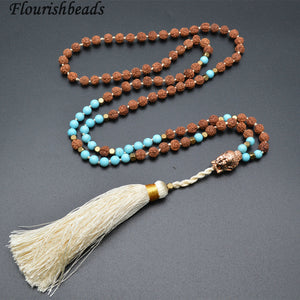Natural Rudraksha Mala with Copper Buddha Head