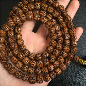 Tibetan 108 Old Oiled Rudraksha Bodhi Seeds Prayer Mala 8.5-9mm