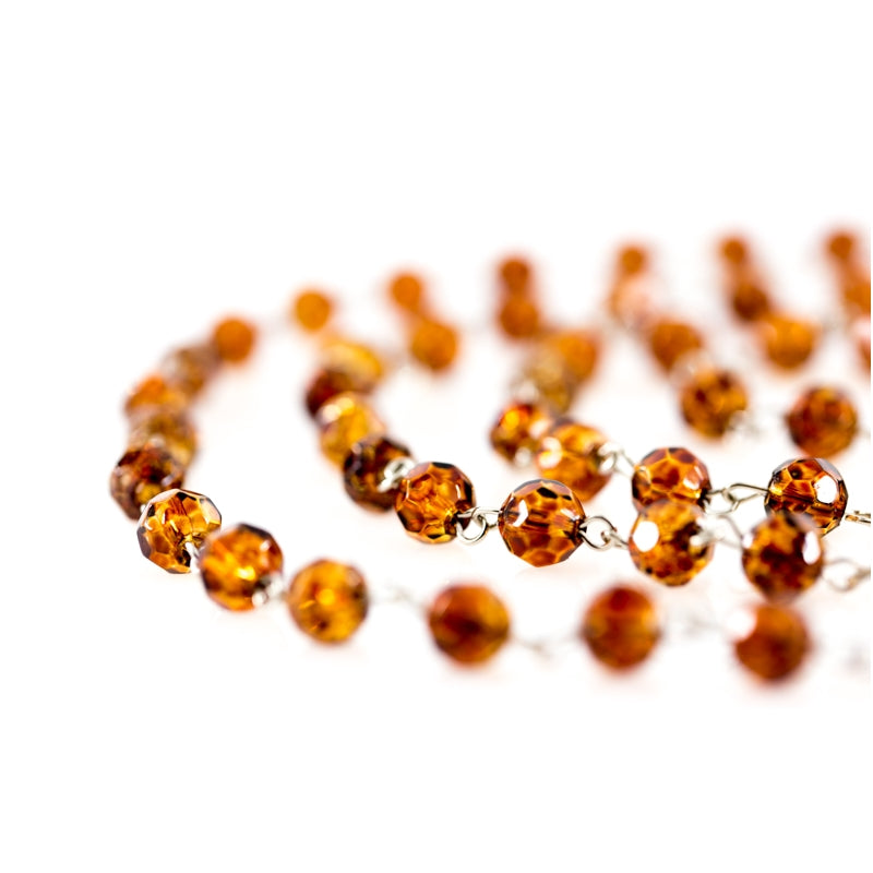 Amber chains of crystals beads for chandeliers and lamps