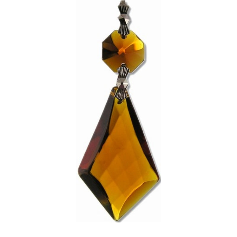 amber hanging prism suncatcher and crystal gems