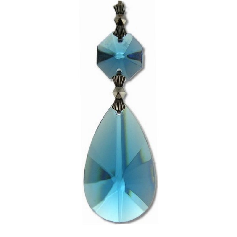 Aqua British Oval Prisms for Chandelier Replacement Crystals