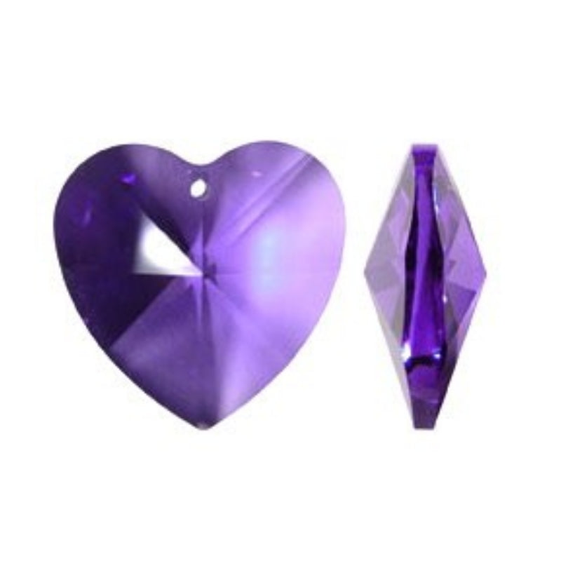 Dark Purple Crystal Heart Prism for Chandeliers