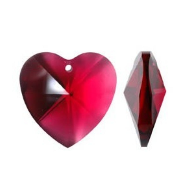Red Crystal Heart Prism for Chandeliers