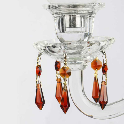 amber colored chandelier prisms