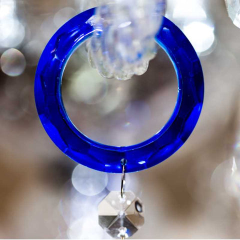 blue rings for chandelier arms to hang crystal prisms from