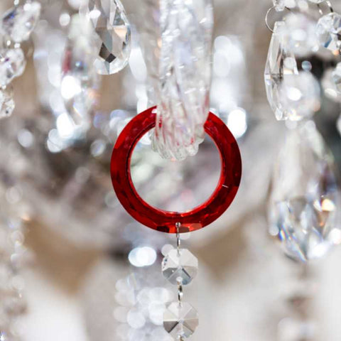 Red crystal o-ring for chandelier replacement crystals