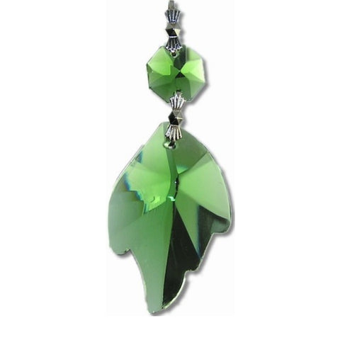 green leaf shaped crystals for chandeliers
