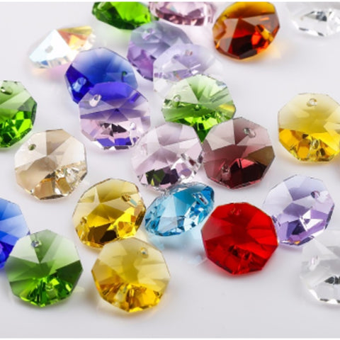 multicolored hanging octagons chandelier replacement crystals