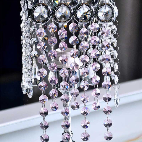 pink strands of crystals for chandeliers