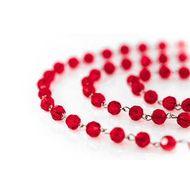 red chains of chandelier garland beads