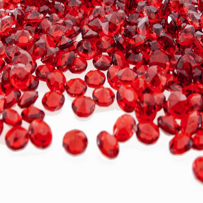 red scatter crystals for tables and centerpieces
