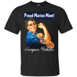 ROSIE THE RIVETER (Proud Marine Mom) Ladies V-Neck and Unisex T-Shirt