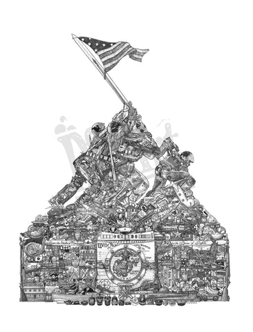"ARTIST SIGNED   ""Uncommon Valor"" 16 x 20  DS Art Print  FREE SHIPPING"