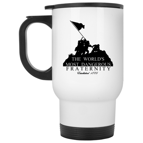 14 oz.  White Travel Mug (Dangerous Fraternity)