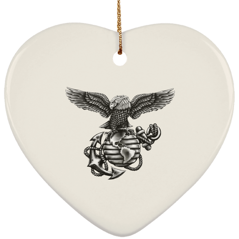 Ceramic Heart Christmas Ornament  (Blackout Collection)