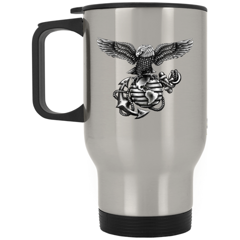 14 oz. Silver Stainless Travel Mug  (Black Out collection)