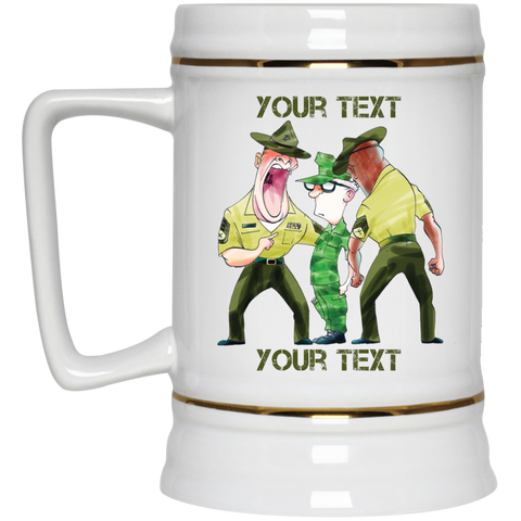 (Style 1) Skinny Recruit and Drill Instructors Fully Personalized Beer Stein 22oz.